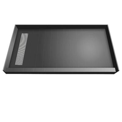 36 in. x 72 in. Single Threshold Shower Base with Left Drain and Polished Chrome Trench Grate