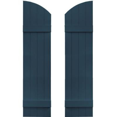 14 in. x 53 in. Board-N-Batten Shutters Pair, 4 Boards Joined with Arch Top #036 Classic Blue