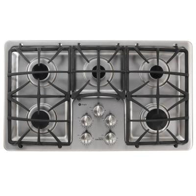 Profile 36 in. Gas Cooktop in Stainless Steel with 5 Burners including Power Boil Burner