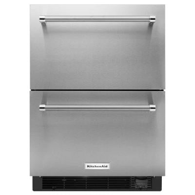 4.7 cu. ft. Double Drawer Mini Refrigerator in Stainless Steel, Counter Depth