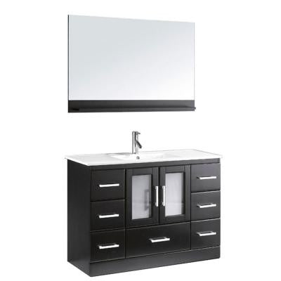 Zola 48 in. Single Basin Vanity in Espresso with Ceramic Vanity Top in White and Mirror