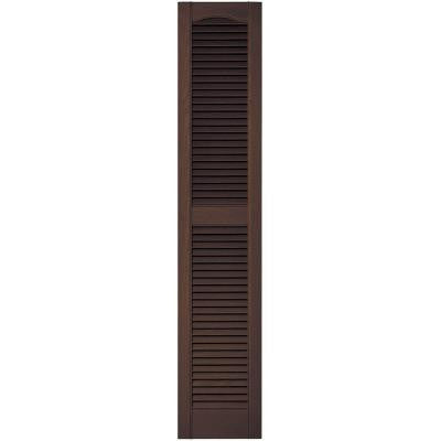 12 in. x 60 in. Louvered Vinyl Exterior Shutters Pair in #009 Federal Brown