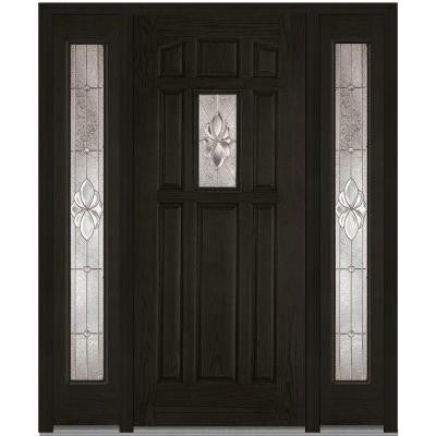 60 in. x 80 in. Heirloom Master Decorative Glass 1/4 Lite Finished Oak Fiberglass Prehung Front Door with Sidelites