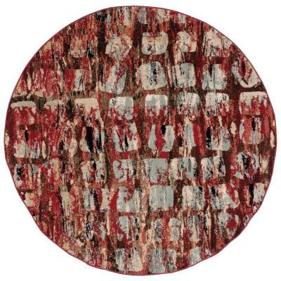 Modesto Squares Red 5 ft. 3 in. Round Area Rug