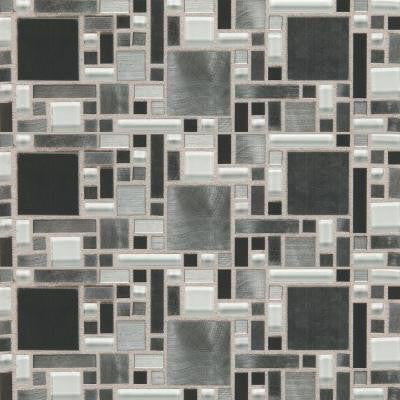 Fashion Accents Nickel Fortress Blend 12 in. x 12 in. Glass and Stone Blend Mosaic Wall Tile
