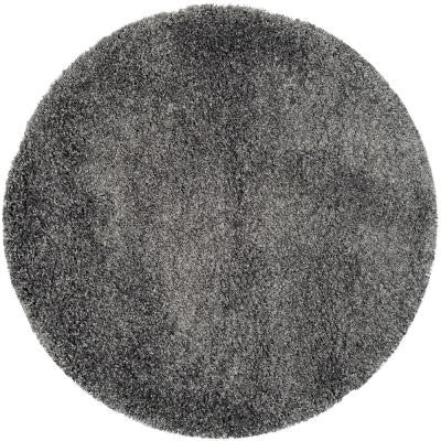 California Shag Dark Grey 6 ft. 7 in. x 6 ft. 7 in. Round Area Rug