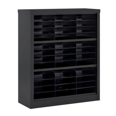 42 in. H x 34.5 in. W x 13 in. D Steel Commercial Literature Organizer Shelving Unit in Black