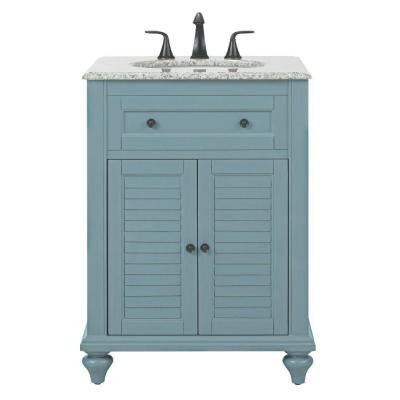 Hamilton Shutter 25 in. W Vanity in Sea Glass with Granite Vanity Top in Grey with White Basin