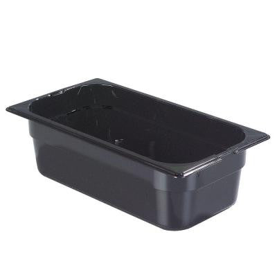 1/3 Size, 3.80 qt., 4 in. D Polycarbonate Food Pan in Black, Lid not Included (Case of 6)