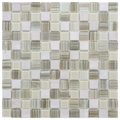 Spectrum Square Pistachio 11-1/2 in. x 11-1/2 in. x 4 mm Glass and Stone Mosaic Wall Tile
