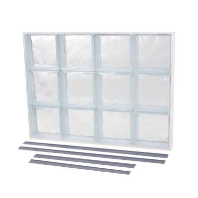 13.875 in. x 15.875 in. NailUp2 Wave Pattern Solid Glass Block Window