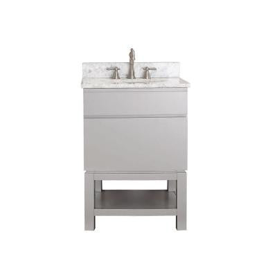 Tribeca 25 in. Vanity in Chilled Gray with Marble Vanity Top in Carrara White