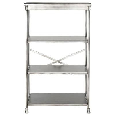 Jacinda Etagere 3-Shelf Bookcase in Dark Silver