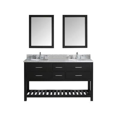 Caroline Estate 60.8 in. Double Vanity in Espresso with Marble Vanity Top in Italian Carrara White and Mirror