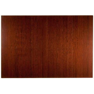 Deluxe Dark Brown Mahogany 48 in. x 72 in. Bamboo Roll-Up Office Chair Mat without Lip