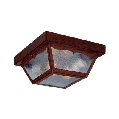Builder's Choice Collection Ceiling-Mount 2-Light Outdoor Burled Walnut Light Fixture
