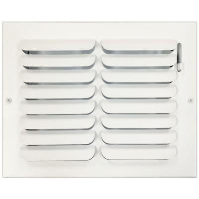 8 in. x 10 in. Ceiling or Wall Register with Curved Single Deflection, White