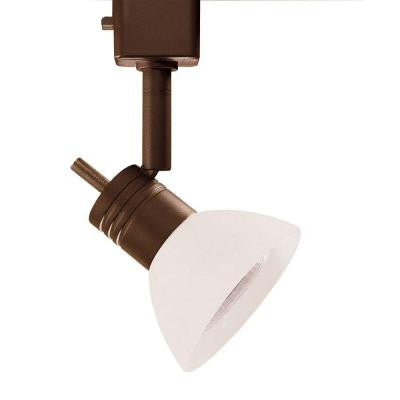 Series 10 Line Voltage GU-10 Oil Rubbed Bronze Track Lighting Fixture with White Glass Shade