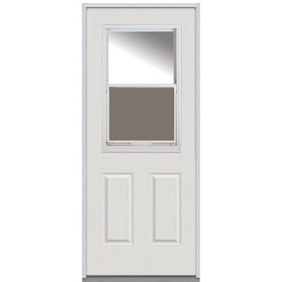 36 in. x 80 in. Classic Clear Glass 1/2 Lite 2-Panel Primed White Steel Replacement Prehung Front Door with Venting