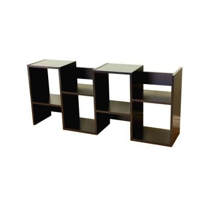 Black 6-Shelf Display Cabinet Bookcase