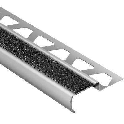 Trep-G-B Brushed Stainless Steel/Black 11/32 in. x 4 ft. 11 in. Metal Stair Nose Tile Edging Trim
