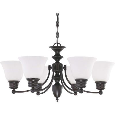 6-Light Mahogany Bronze Chandelier with Frosted White Glass Shade