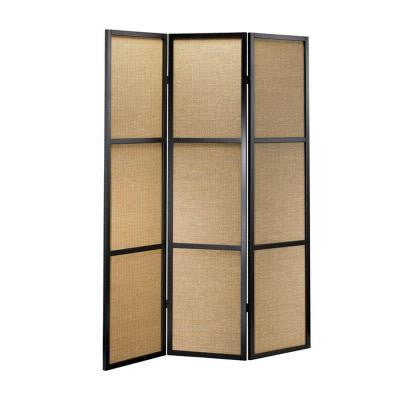 52 in. x 70 in. Black Wood and Bamboo Folding Screen