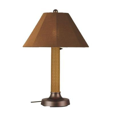 Bahama Weave 34 in. Mocha Cream Outdoor Table Lamp with Teak Shade