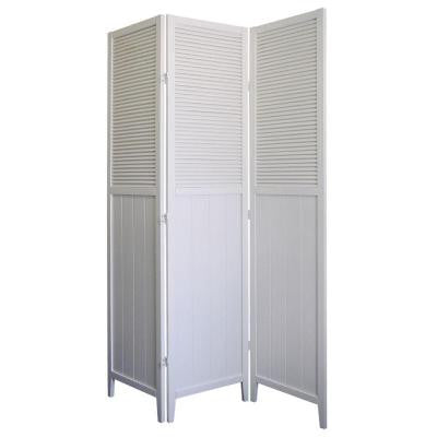 Shutter Door 3-Panel Room Divider in White