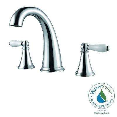 Kaylon 8 in. Widespread 2-Handle High-Arc Bathroom Faucet in Polished Chrome and Ceramic