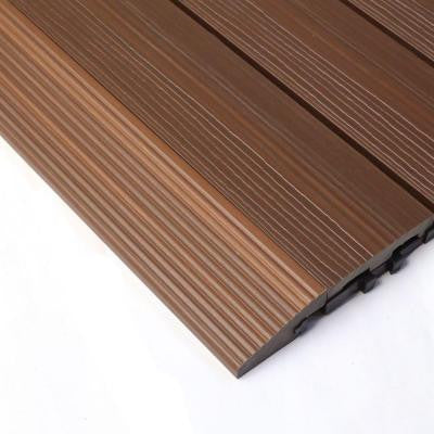 Quick Deck 2 in. x 1 ft Composite Deck Tile Straight Trim in Brazilian Ipe (4-Pieces/box)