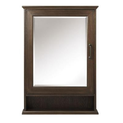 Walden 24 in. W x 34 in. H Surface-Mount Mirrored Medicine Cabinet in Mocha