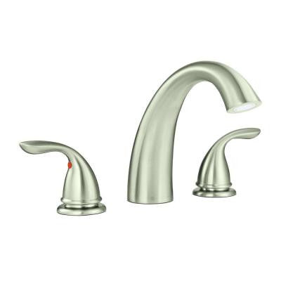 Builders 2-Handle Deck-Mount Roman Tub Faucet in Brushed Nickel