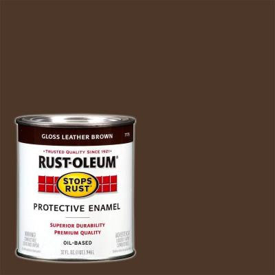 1-qt. Gloss Leather Brown Protective Enamel Paint (Case of 2)
