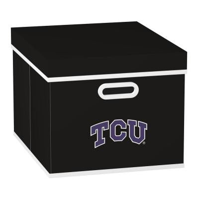 College STACKITS Texas Christian University 12 in. x 10 in. x 15 in. Stackable Black Fabric Storage Cube
