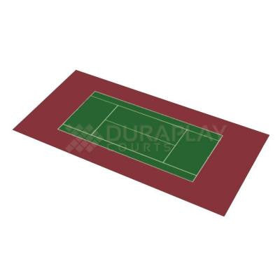 59 ft. 1 in. x 119 ft. 10 in. Slate Green and Burgundy Full Tennis Court
