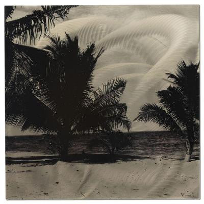 Brevium 22 in. x 22 in. Black and White Palm Trees Metal Wall Art