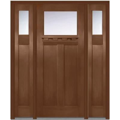 64 in. x 80 in. Classic Clear Glass 1 Lite Craftsman Finished Fir Fiberglass Prehung Front Door with Sidelites