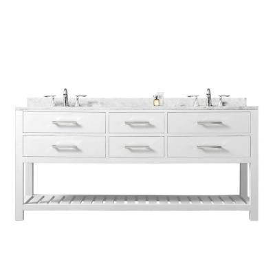 60 in. Vanity in Carrara White with Marble Vanity Top in Carrara White