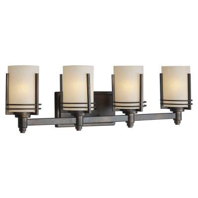 4-Light Antique Bronze Bath Vanity Light with Umber Linen Glass Shade
