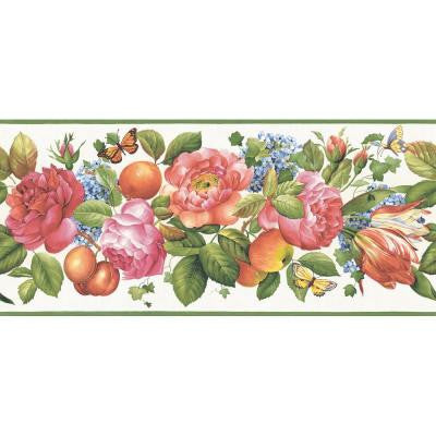 9.25 in. x 15 ft. Primary Colored Floral and Fruit Trail Border