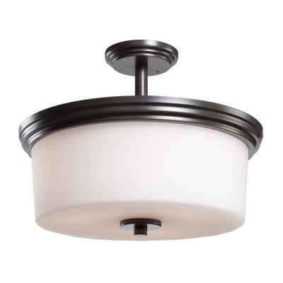 Obu 3-Light Oil-Rubbed Bronze Semi-Flush Mount Light