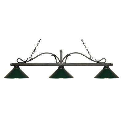 Morata 3-Light Golden Bronze Island Light with Dark Green Shades