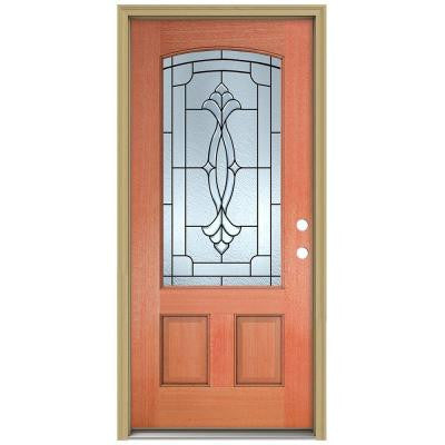 36 in. x 80 in. Champagne Camber Top 3/4 Lite Unfinished Mahogany Prehung Front Door with Brickmould and Patina Caming