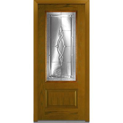 36 in. x 80 in. Brentwood Decorative Glass 3/4 Lite 1-Panel Finished Oak Fiberglass Prehung Front Door