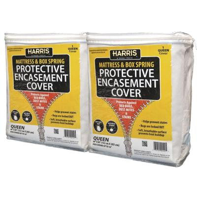 Mattress and Box Spring Protective Encasement Cover Queen Size (2-Pack)
