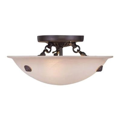 Providence 3-Light Bronze Flushmount with Honey Alabaster Glass