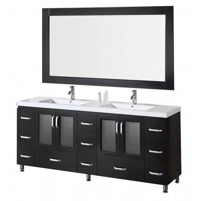 Stanton 72 in. W x 22 in. D Vanity in Espresso with Acrylic Vanity Top and Mirror in White