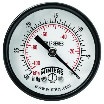 PEM-LF Series 2 in. Lead-Free Brass Pressure Gauge with 1/8 in. NPT CBM and 0-30 in. VAC/kPa