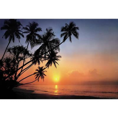 106 in. x 153 in. Tropical Sunset Wall Mural